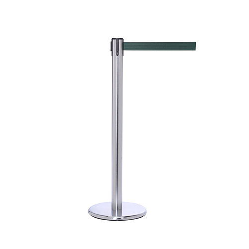 Satin Stainless Steel Retractable Belt Stanchion Queue Post