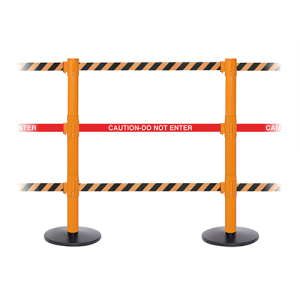 SafetyPro Triple Orange Post with Three Retractable Belts